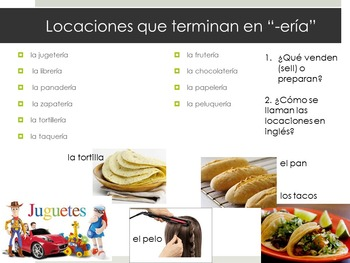 Spanish PODER introduciton and places in the city vocabulary present beginners
