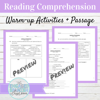 Spanish Por and Para Reading and Activities