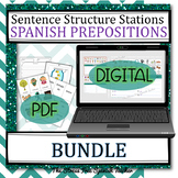 Spanish PREPOSITIONS Centers Stations Printable and Digital BUNDLE