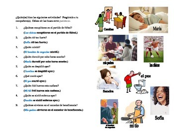 Spanish Pair Drill - Preterite Stem Changing Verbs with Pictures