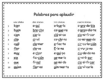 Spanish Palabras para aplaudir