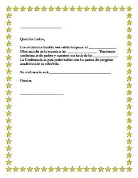 Spanish Parent Teacher Conference Note to Parents
