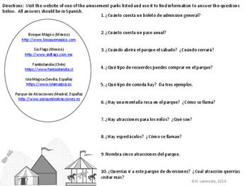 Spanish Vocabulary:  Parque de Diversiones Internet Activity