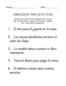 Spanish Parts of Speech Activities