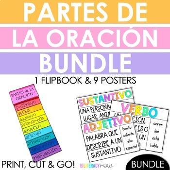 Spanish Parts of Speech Flip Book + Posters BUNDLE!