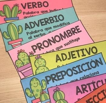 Spanish Parts of Speech Grammar Wall / Pared de las partes de la oración