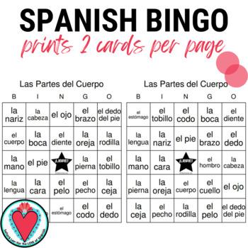Spanish Bingo: Parts of the Body   El Cuerpo