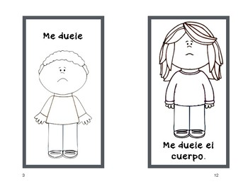 Spanish Parts of the Body Book - Easy Reader Coloring Activity Me duele la oreja