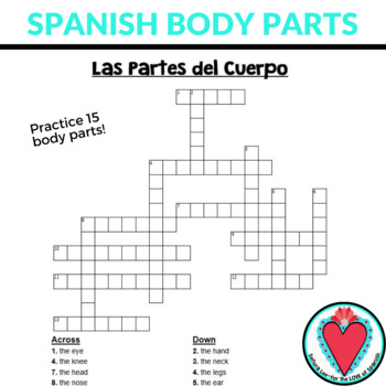 Spanish Crossword Puzzle - Parts of the Body - Cuerpo
