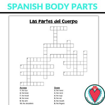 Spanish Body Parts Crossword Puzzle