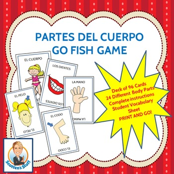 Spanish Parts of the Body Go Fish Game