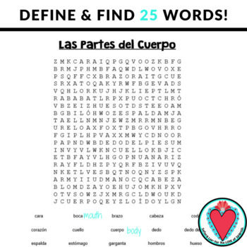 Spanish Body Parts WORD SEARCHES