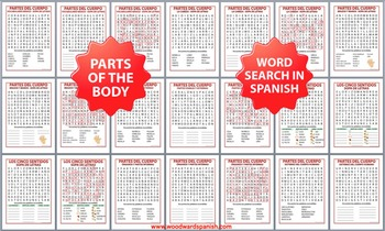 Spanish Parts of the Body Word Search BUNDLE