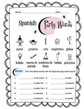 Spanish Party Items Worksheet Packet