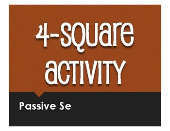 Spanish Passive Se Four Square Activity
