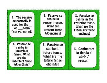 Spanish Passive Se Task Cards