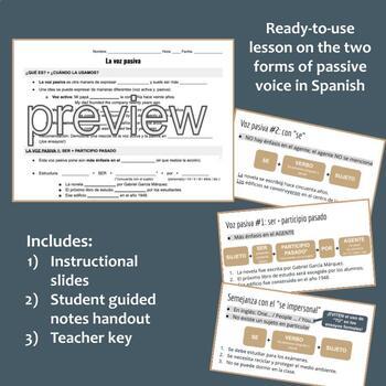 Spanish Passive Voice (Voz Pasiva) Lesson and Notes