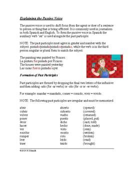 Spanish Passive Voice Worksheet: La voz pasiva (present & preterite forms)