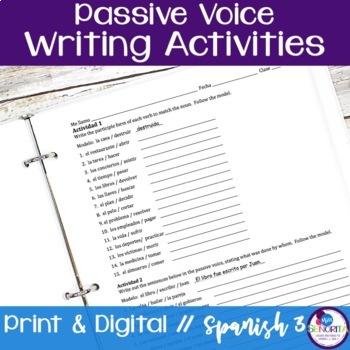 Spanish Passive Voice Writing Activities
