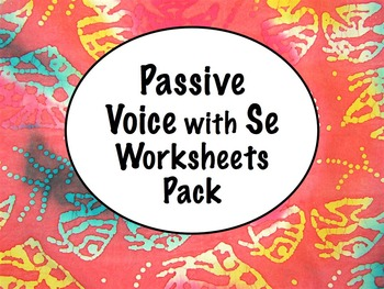 Spanish Passive Voice with Se Worksheets Practice Pack with Answer Key
