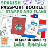 Spanish Passport Booklet, Stamps & Flags of Latin America