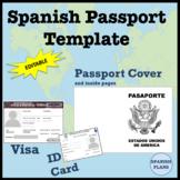 Spanish Passport Template and Visa