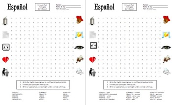 Spanish Past Participle Irregulars Word Search Puzzle and Image IDs