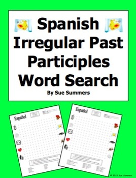 Spanish Past Participle Irregulars Word Search Puzzle and
