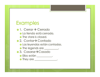 Spanish Past Participles as Adjectives Notes