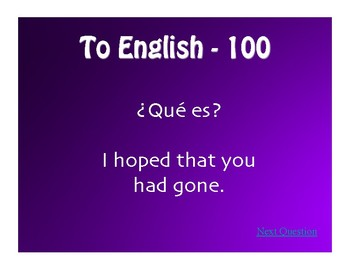 Spanish Past Perfect Subjunctive Jeopardy-Style Review Game
