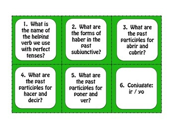 Spanish Past Perfect Subjunctive Task Cards