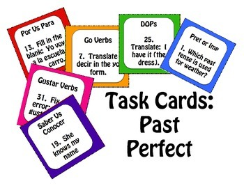 Spanish Past Perfect Task Cards