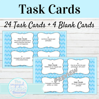 Spanish Past Perfect Tense Task Cards
