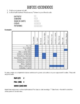 Spanish Past Subjunctive If Clause Battleship-Style Game