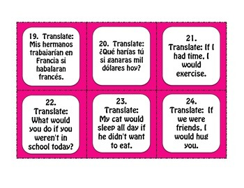Spanish Past Subjunctive If Clause Task Cards