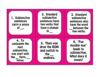 Spanish Past Subjunctive Task Cards