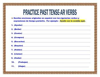 Spanish Preterite (AR/ER/IR) Verbs- Conjugation Tables & Writing Sentences
