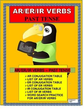 Spanish Preterite (AR/ER/IR) Verbs- Conjugation Tables & W
