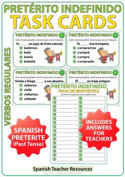 Spanish Past Tense Task Cards - Pretérito Indefinido
