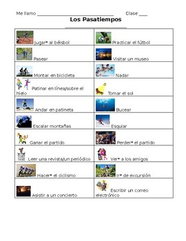 Spanish- Past Time Vocabulary Student Note Sheet