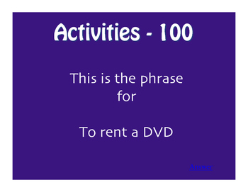 Avancemos 1 Unit 1 Lesson 1 Jeopardy-Style Review Game