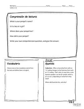 Spanish Penpal Letters 1 - Introducing Yourself (Reading Comprehension Writing)