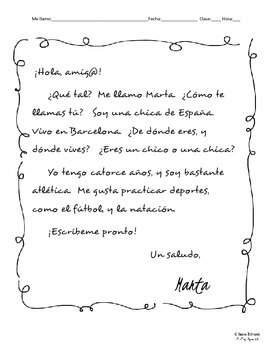 Spanish penpal letters 1 introducing yourself reading spanish penpal letters 1 introducing yourself reading comprehension writing altavistaventures Image collections