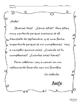 Spanish Penpal Letters Pack 1 - intros, birthdays, weather, favorites