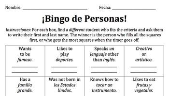 Spanish People Bingo / Bingo de Personas (Spanish 1)