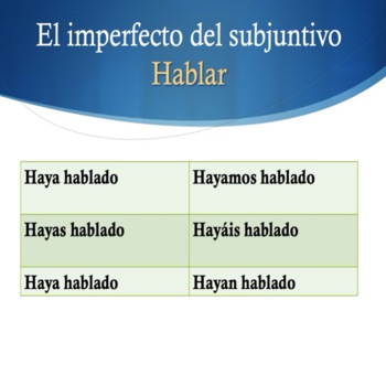 Spanish Perfect, Imperfect and Pluperfect Subjunctive PowerPoint