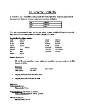 Spanish: Perfect Tense Notes