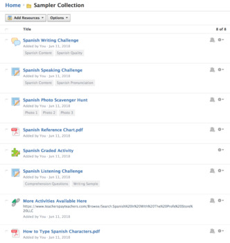 Spanish Perfect Tenses Schoology Collection Sampler