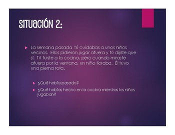 Spanish Perfect Tenses Situations