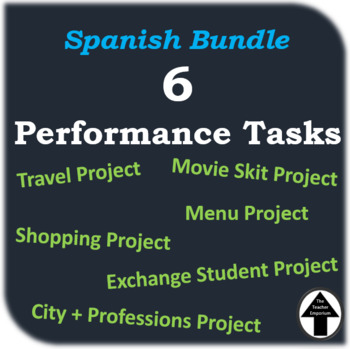 Spanish Performance Task Bundle of 6 Projects Level 1 + 2 Complete Collection